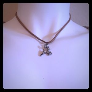 Tan suede dear charm necklace